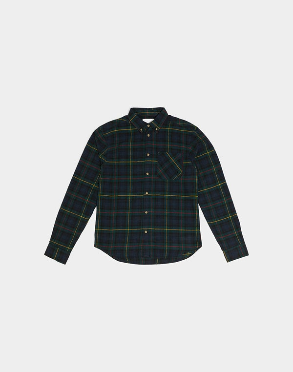 The Idle Man - Brushed Flannel Tartan Shirt Navy