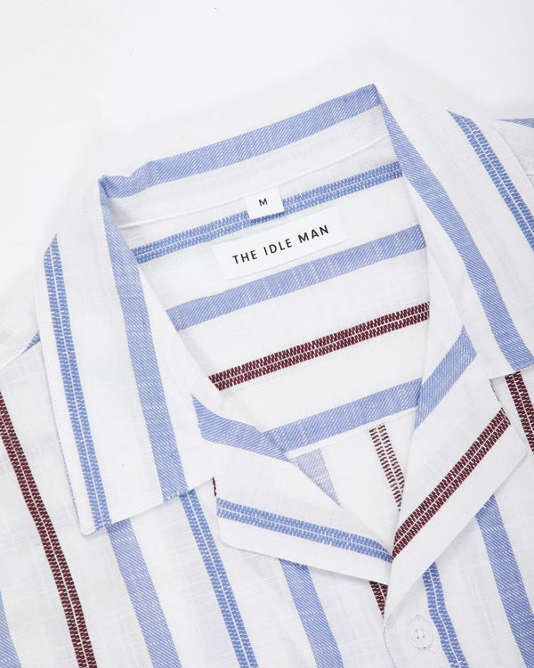 The Idle Man - Knit Stitch Detail Revere Collar Shirt White