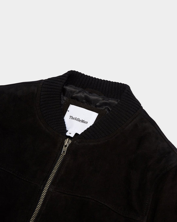 The Idle Man - Suede Bomber Jacket Black