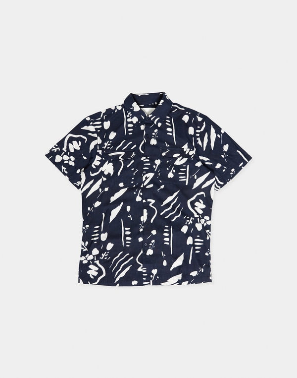 The Idle Man - Abstract Paint strokes SS Shirt Navy