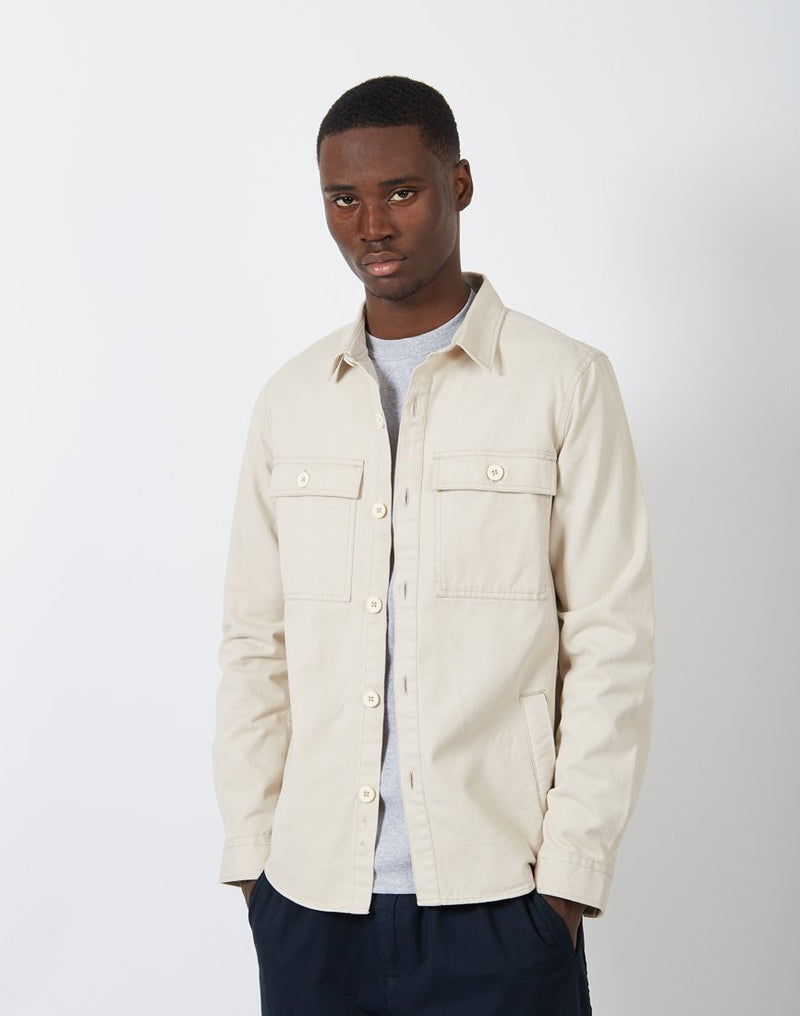 The Idle Man - Button Overshirt Stone