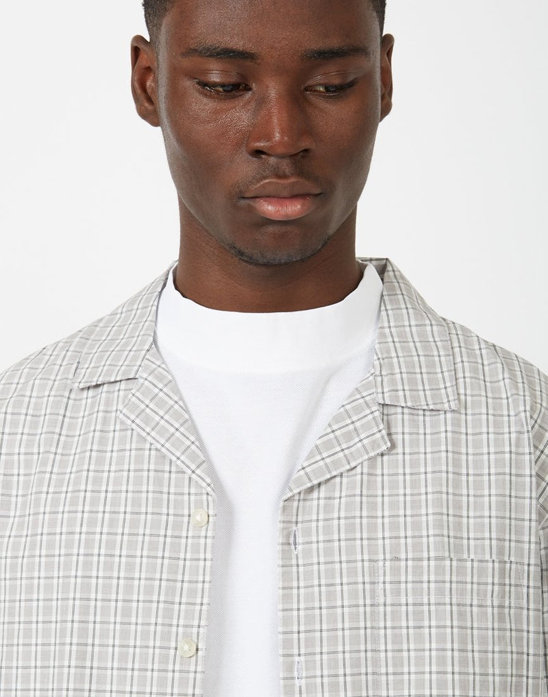 The Idle Man - Check Revere Collar White and Grey