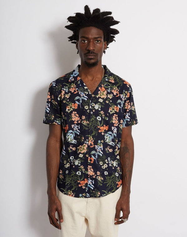 The Idle Man - Floral Print Revere Collar Shirt