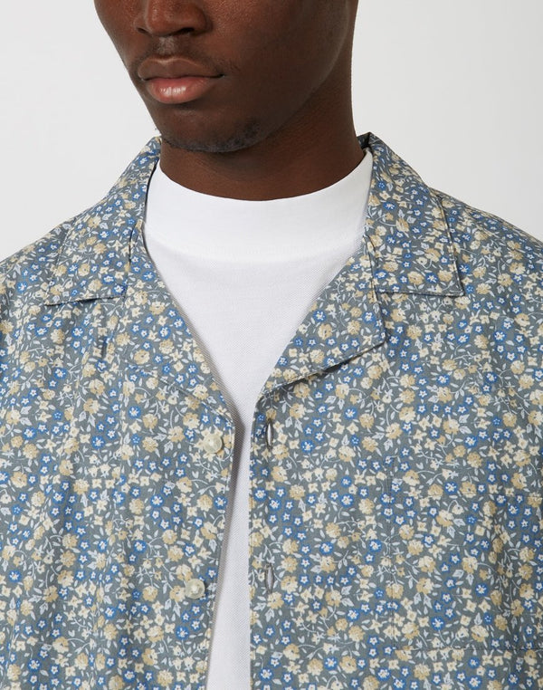 The Idle Man - Floral Revere Collar Grey