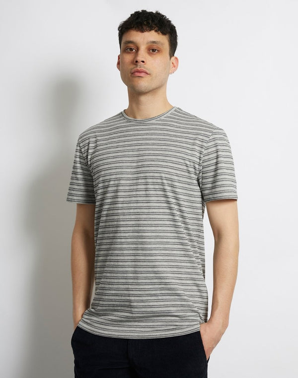 The Idle Man - Jacquard Reverse T-Shirt Grey