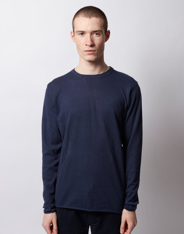 The Idle Man - Long Sleeve Knitted Jumper Navy