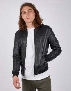 The Idle Man - Leather Bomber Jacket