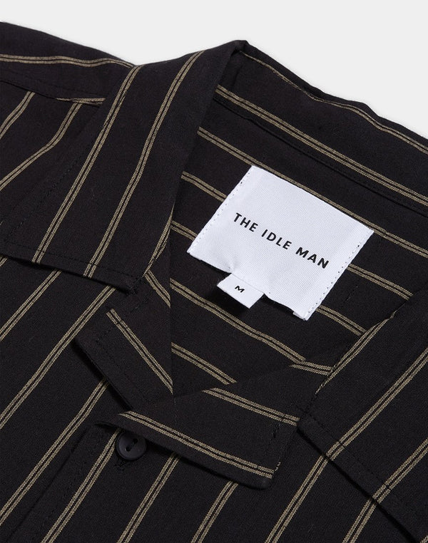 The Idle Man - Pinstripe Revere Collar shirt Black