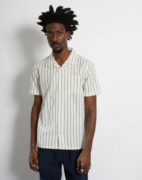 The Idle Man - Pinstripe Revere Collar Shirt White