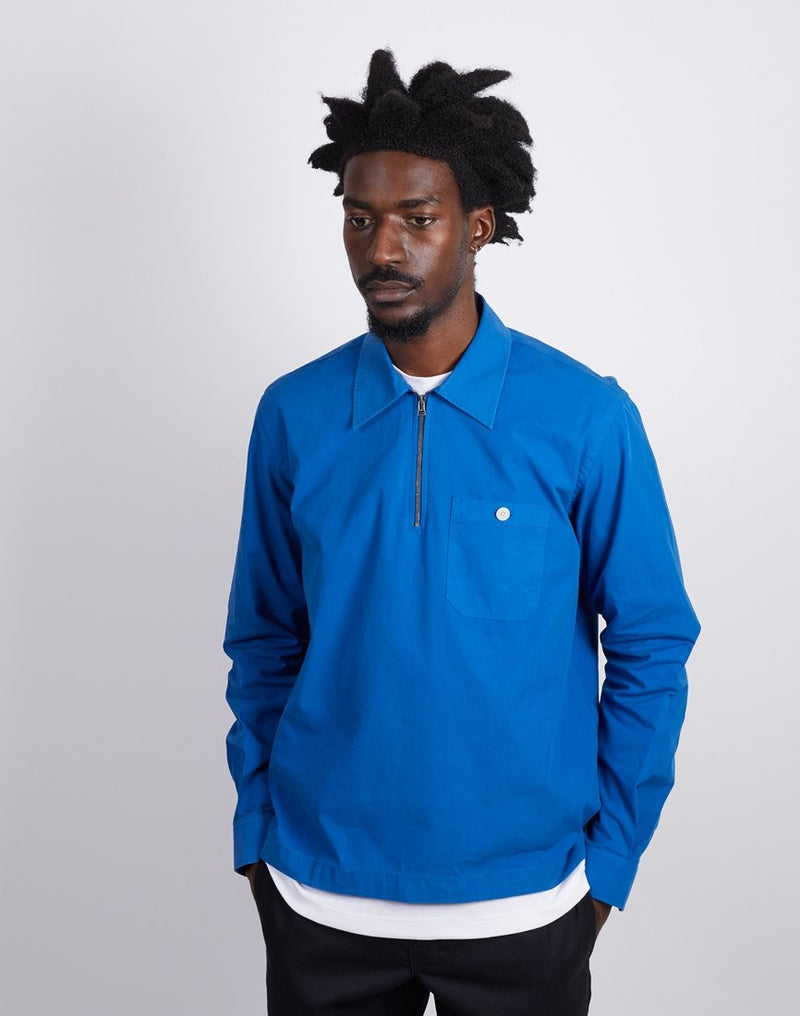 The Idle Man - Quarter Zip Overshirt Blue