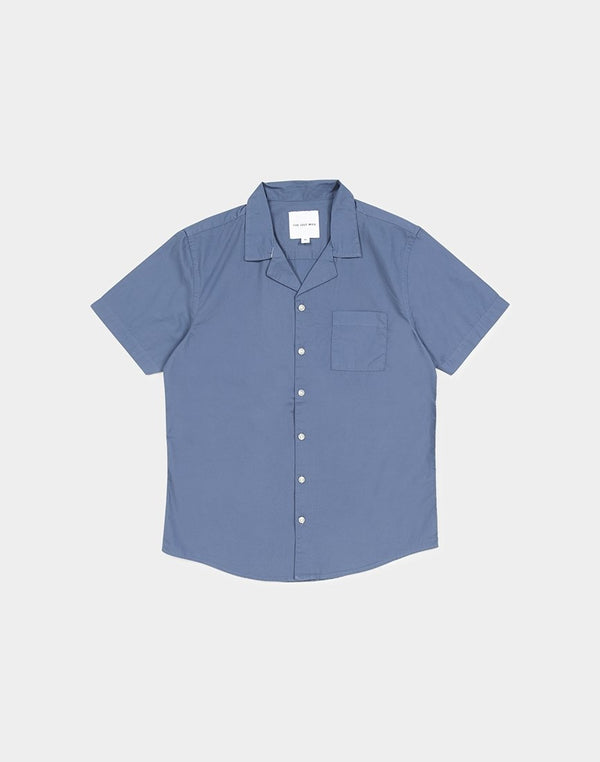 The Idle Man - Revere Collar Shirt Blue