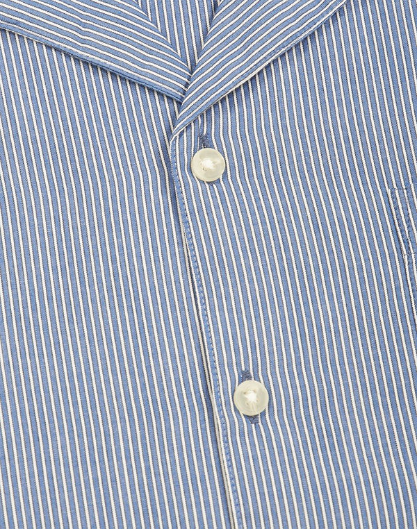 The Idle Man - Stripe Revere Collar Navy and White