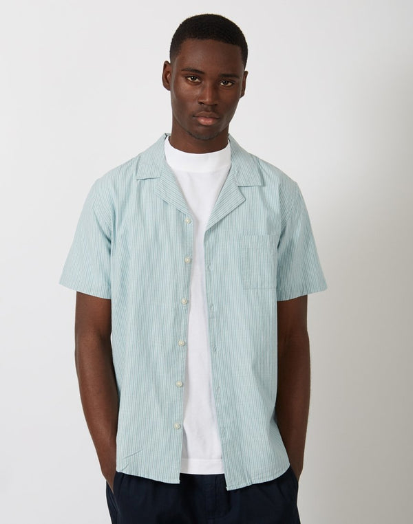 The Idle Man - Stripe Revere Collar Shirt Green