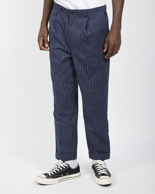 The Idle Man - Pinstripe Trouser Navy