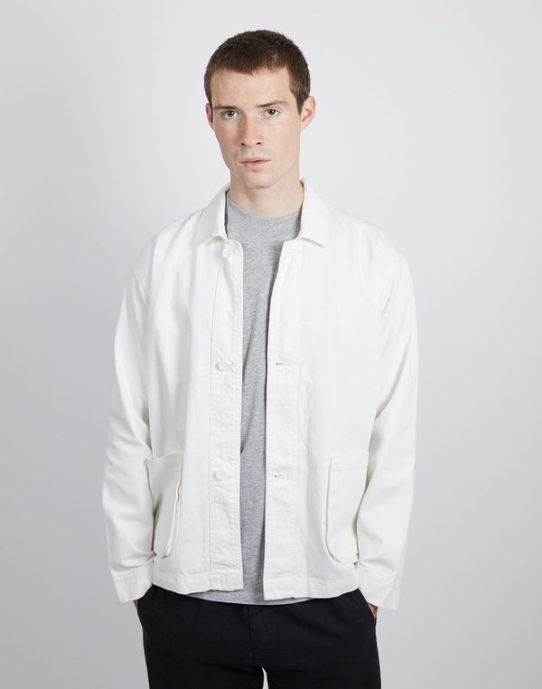 The Idle Man - Workwear Chore Jacket White