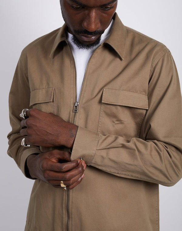 The Idle Man - Zip Front Overshirt Tan