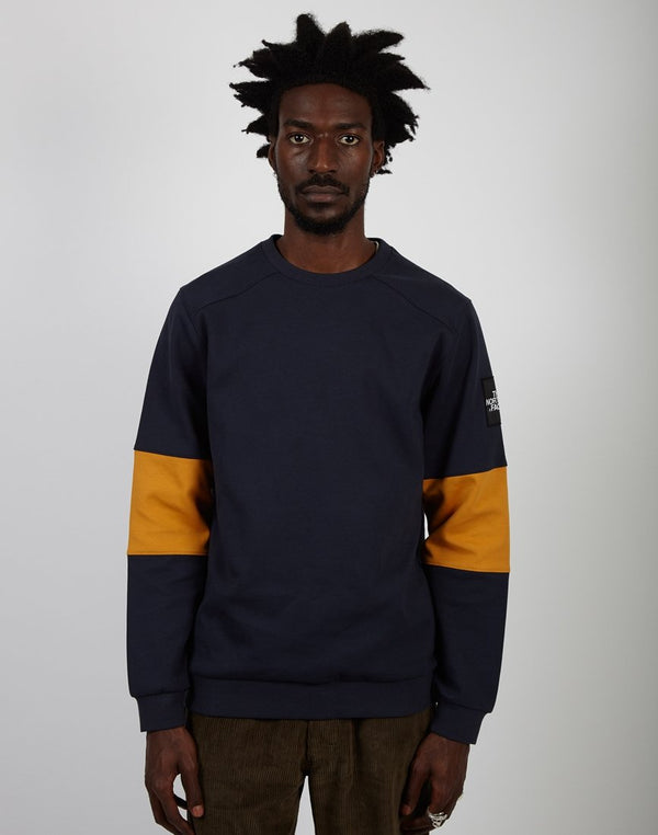 The North Face - Fine 2 Crew Sweat Navy & Yellow
