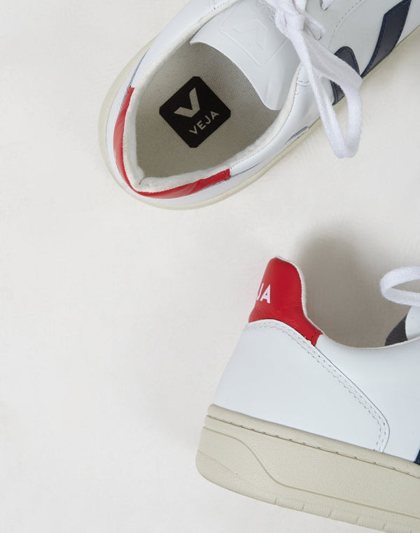 Veja - V-10 Leather Trainer White With Red & Blue