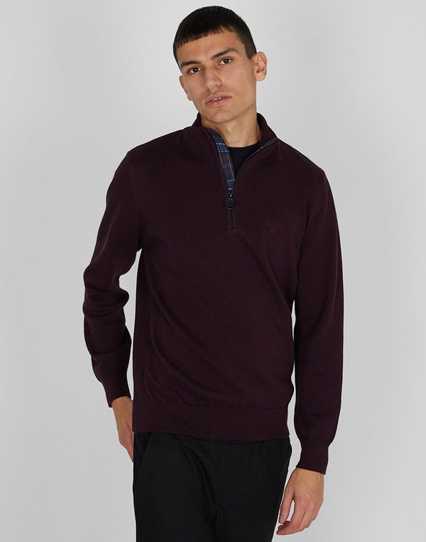 Barbour - Cotton Half Zip Jumper Merlot