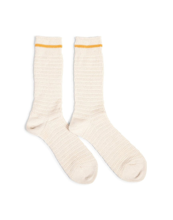 Anonymous - Ism Heavy Thurmal Crew Socks Natural with Orange Stripe - White