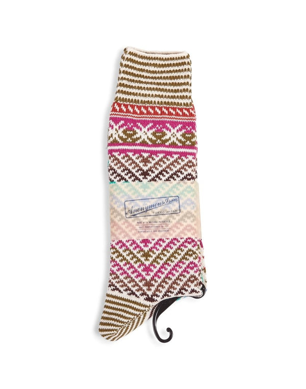 Anonymous - Ism Kilim Crew Socks Pink - Pink
