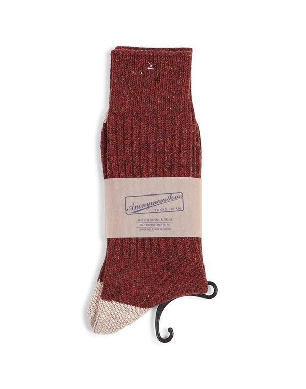 Anonymous Ism -Tweed Knuued Yarn Crew Socks Red