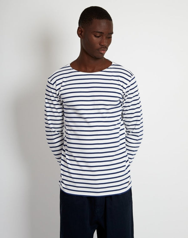 Armor Lux - Mariniere Heritage Long Sleeeve T-Shirt White & Navy