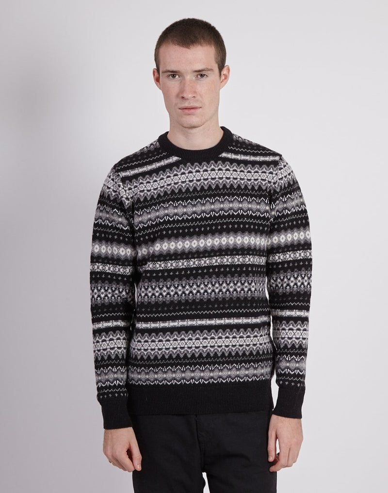 Barbour - Case Fairisle Crew Black