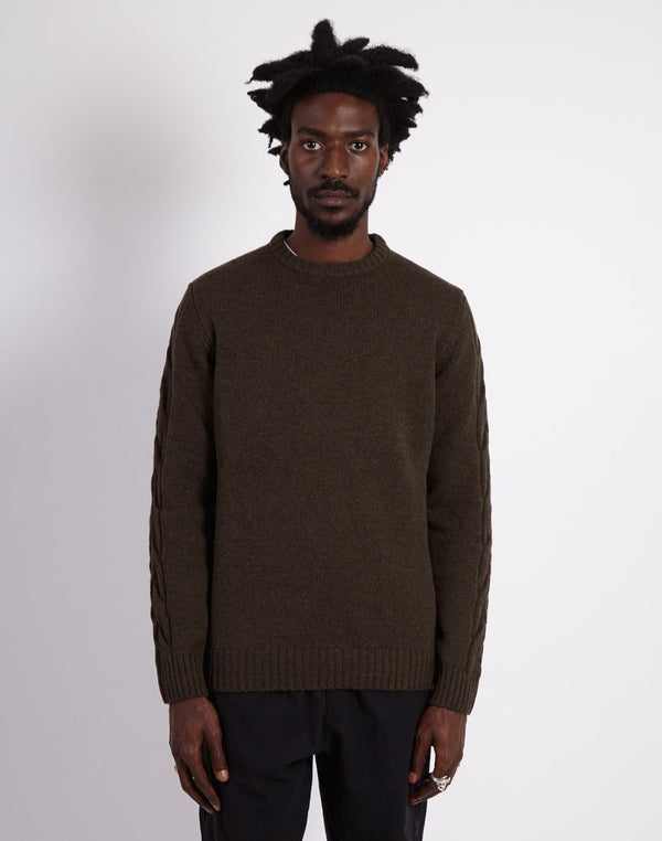 Barbour - Made for Japan Winterfold Crew Knitted Jumper Olive