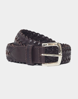 The Idle Man - Leather Plait Belt Brown