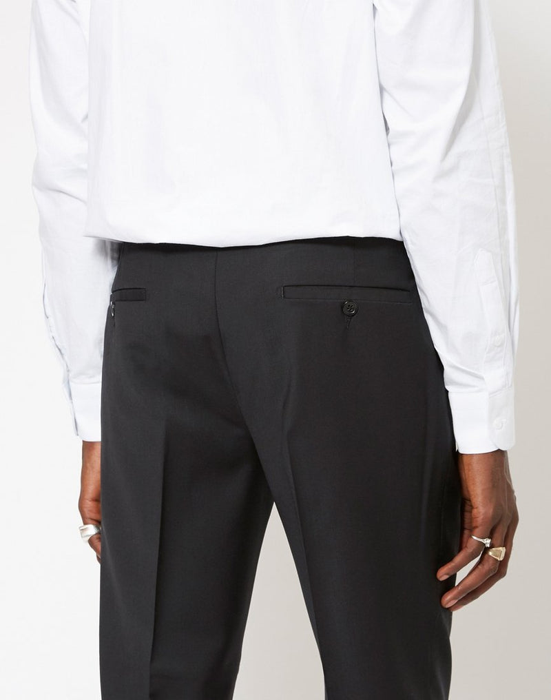 The Idle Man - Slim Fit Pure Wool Suit Trousers Black