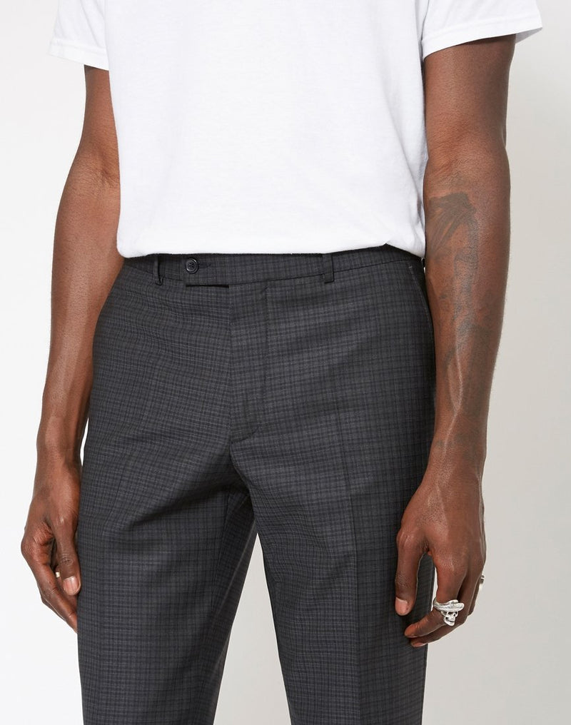 The Idle Man - Slim Fit Pure Wool Check Trousers Black