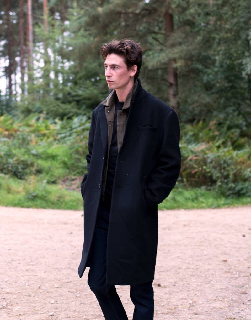 The Idle Man - Wool Blend Overcoat Black