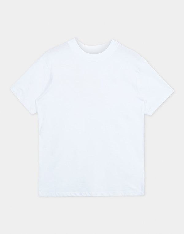 The Idle Man - Organic Cotton High Neck T-Shirt White