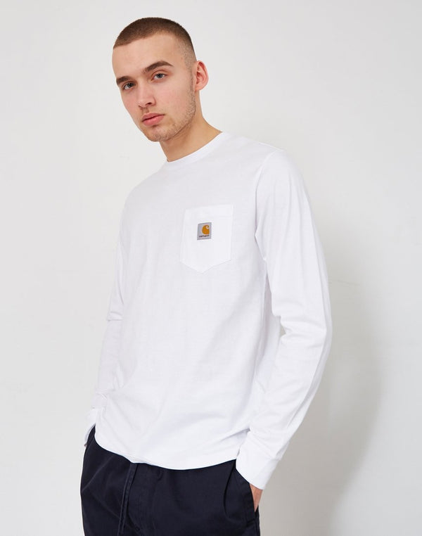 Carhartt WIP - Long Sleeve Pocket T-Shirt White