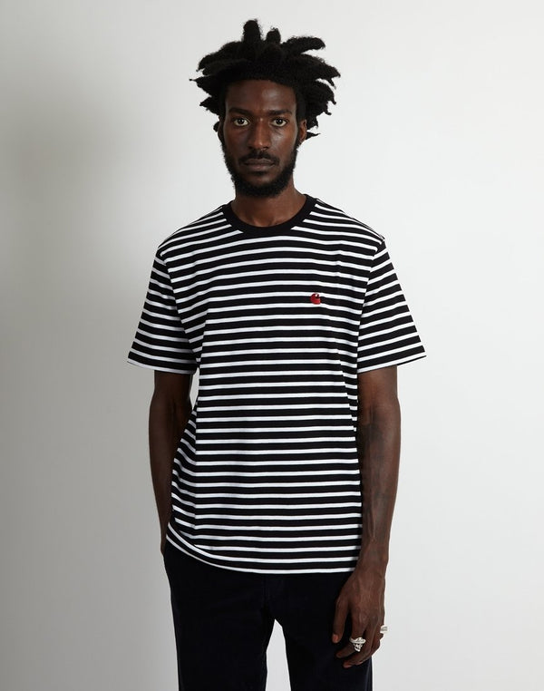 Carhartt WIP - Short Sleeve Robie Striped T-Shirt Black & White