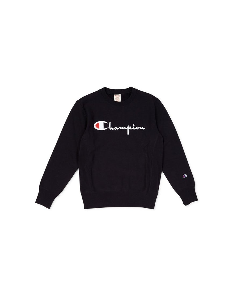 Champion - Crewneck Sweatshirt Large Script Logo Black