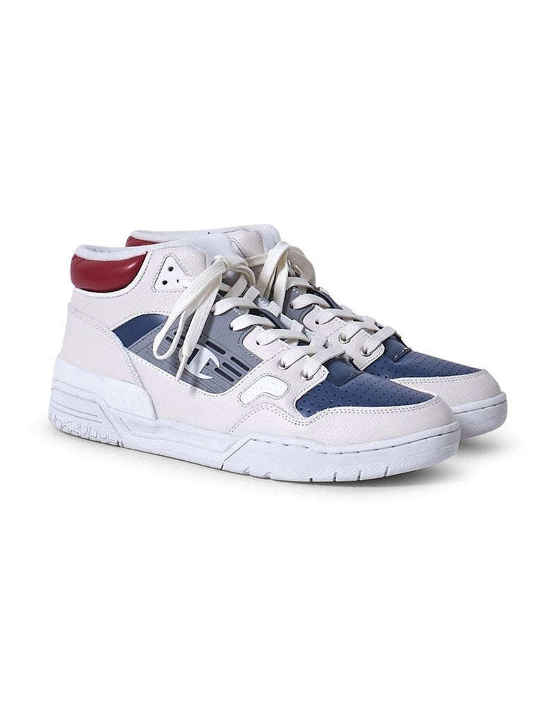 Champion Footwear - Mid Cut 3 On 3 Leather Trainer White & Blue