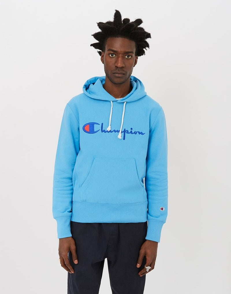 Champion - Reverse Weave Script Logo Hooded Sweatshirt Blue