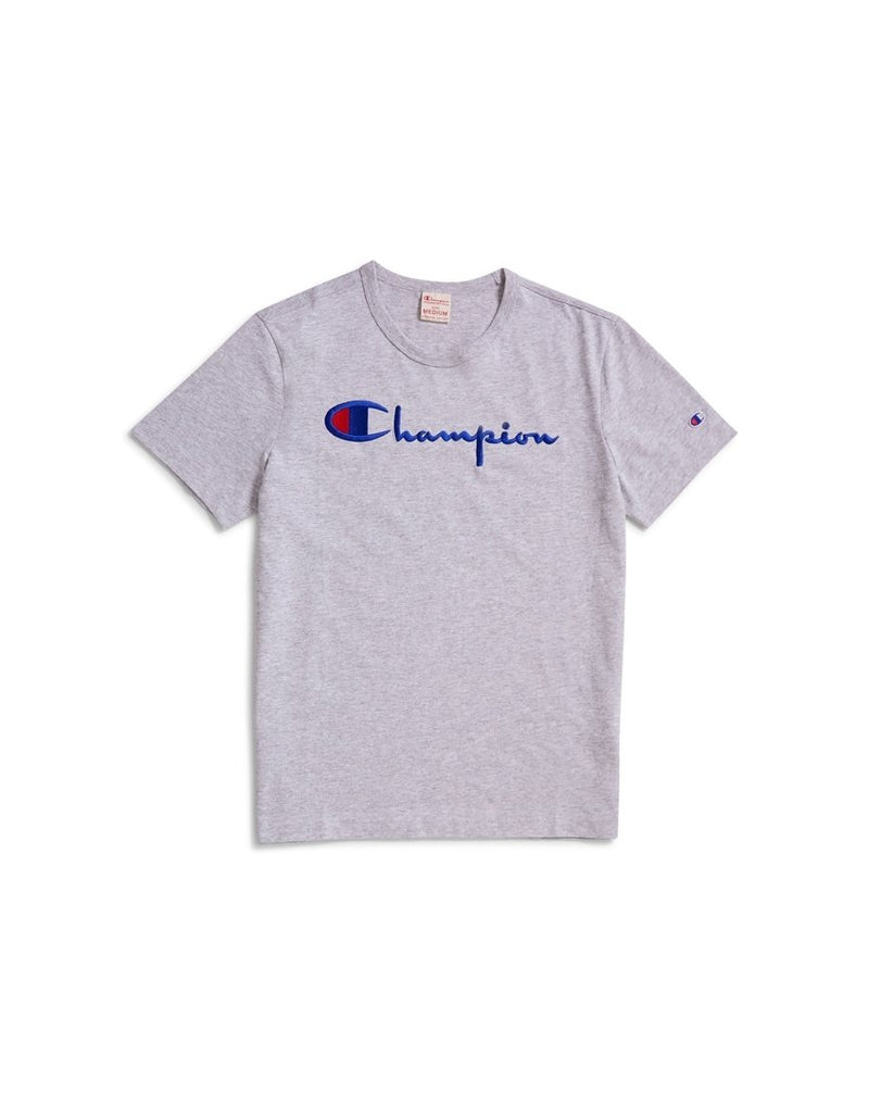 Champion - Reverse Weave Script Logo Short Sleeve T-Shirt Grey