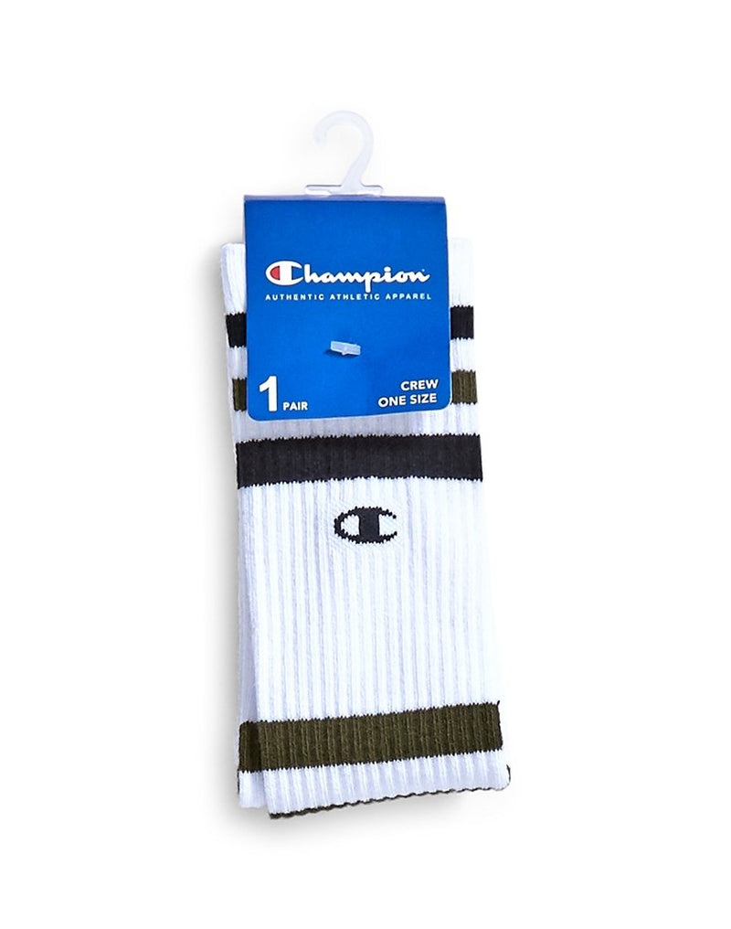 Champion - Stripe Socks White Black & Green