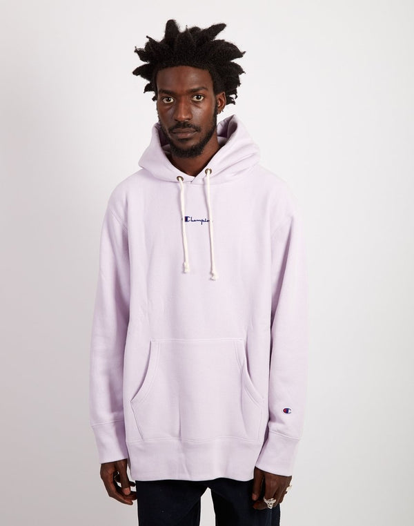 Champion - Oversized Hooded Small Script Logo Sweatshirt Lilac