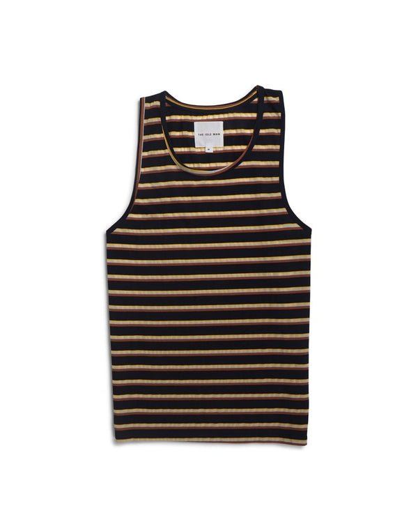 The Idle Man - Yarn Dyed Striped Vest Navy