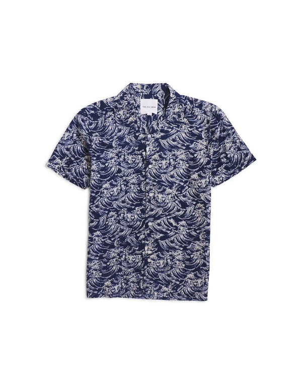 The Idle Man - Printed Waves Shirt Navy & White