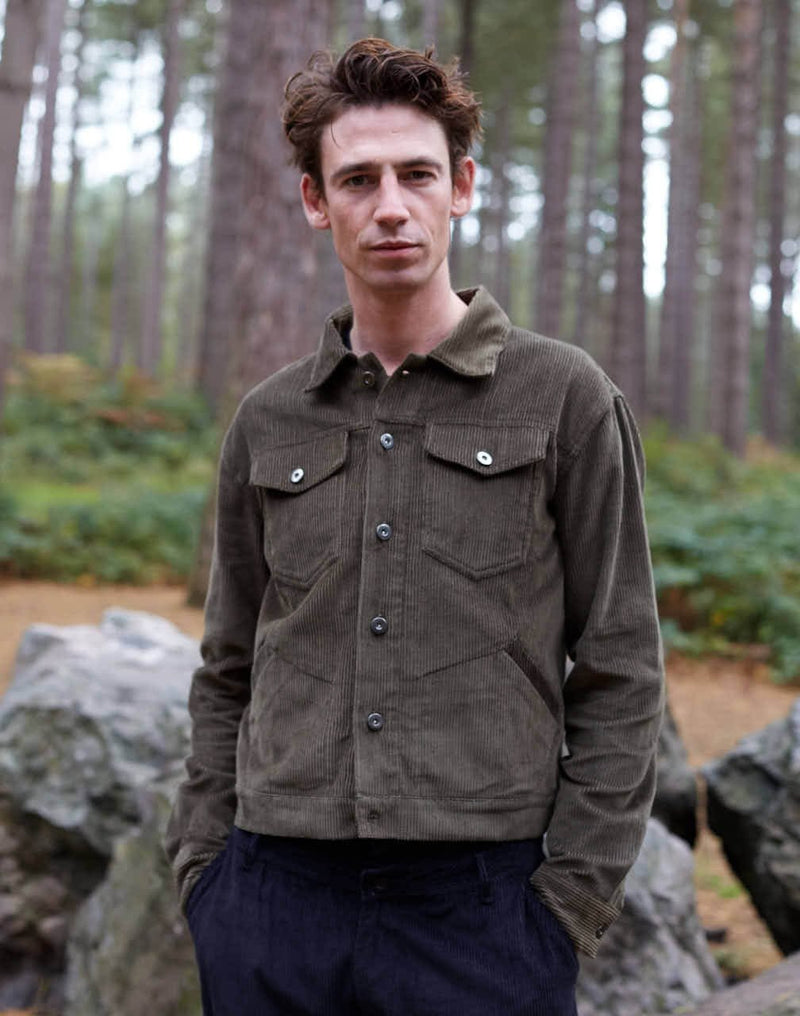 The Idle Man - Cord Worker Jacket Khaki