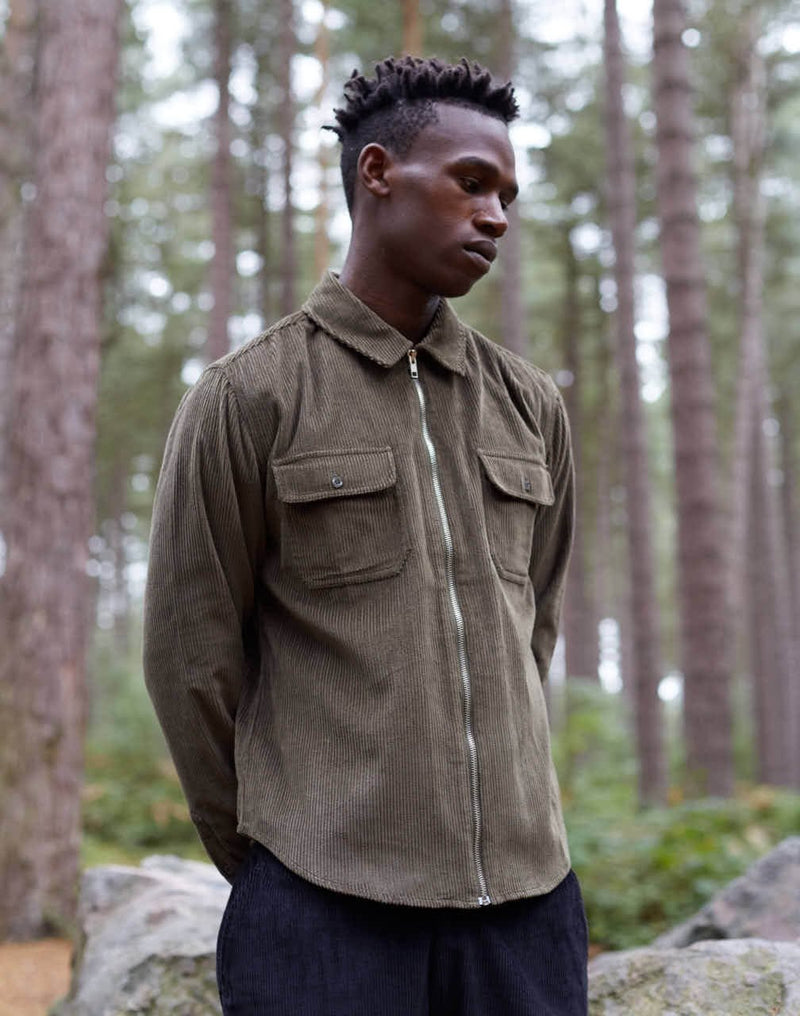 The Idle Man - Corduroy Zip Overshirt Khaki