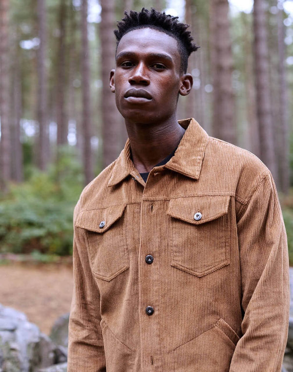 The Idle Man Cord Worker Jacket Tan
