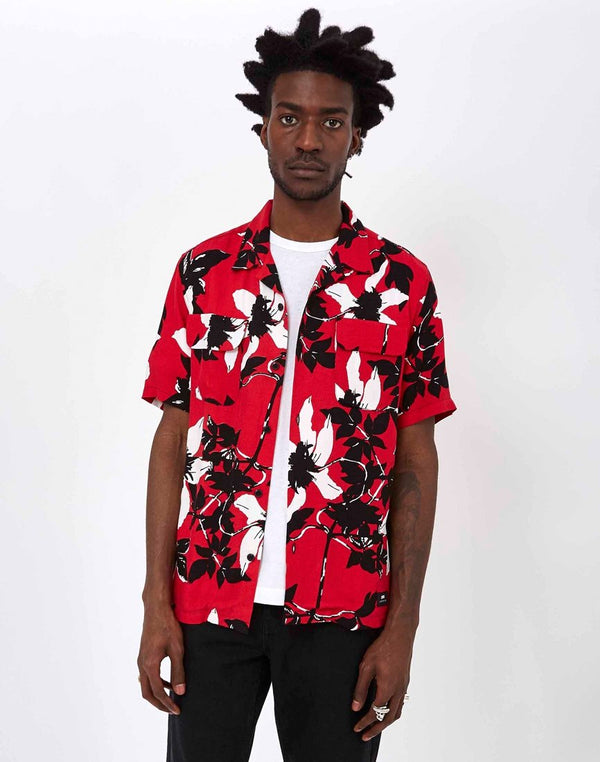 Edwin - Garage Shirt Twill Rayon Floral Allover Red