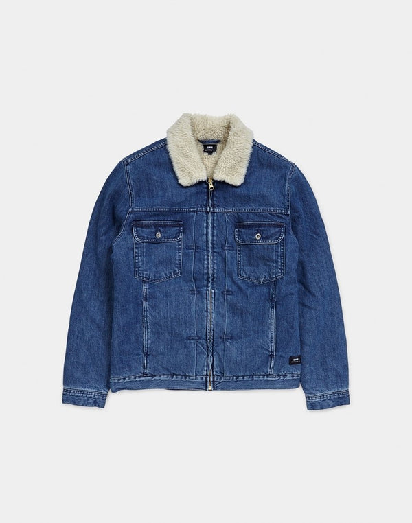 Edwin Panhead Zip Jacket, Kingston Mid Stone Wash Blue Denim