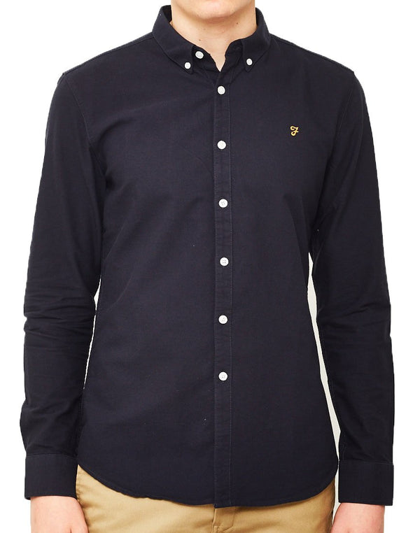 Farah - Brewer Long Sleeve Oxford Shirt Navy